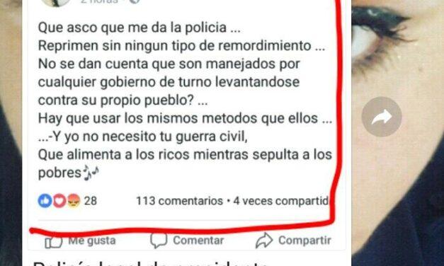 Desafectan mujer Policía por alentar a la violencia