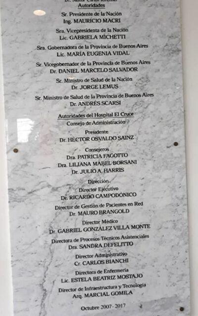 DENUNCIAN QUE «FALSIFICARON INAUGURACIÓN» DEL HOSPITAL 'EL CRUCE' CON NOMBRE DE MACRI