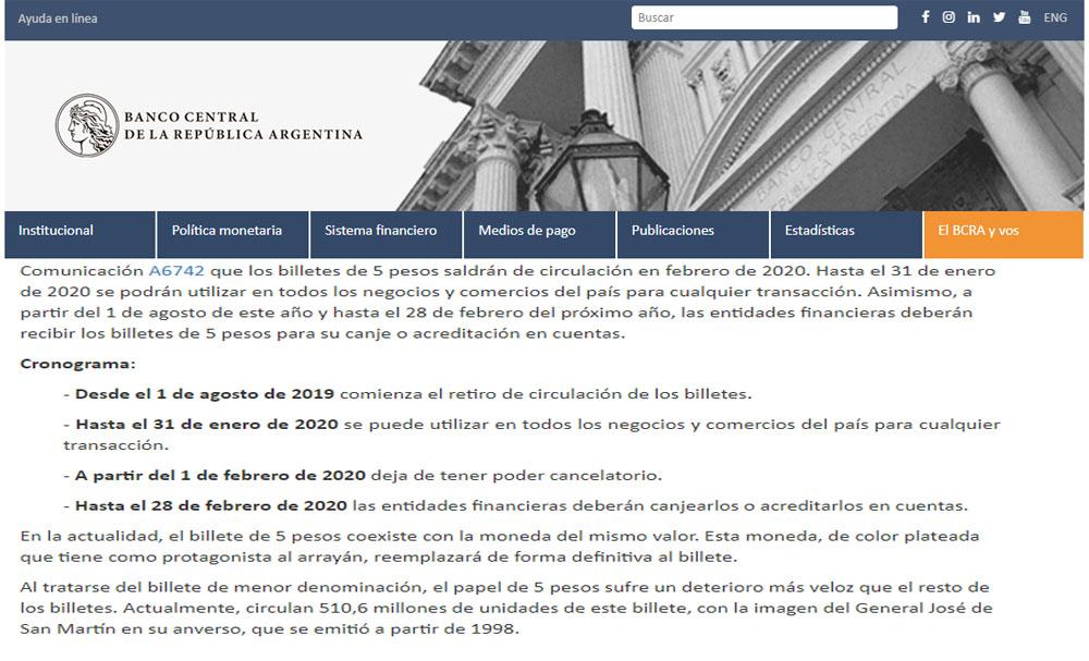 HASTA EL 31 DE ENERO DE 2020 HAY QUE RECIBIR LOS BILLETES DE $ 5