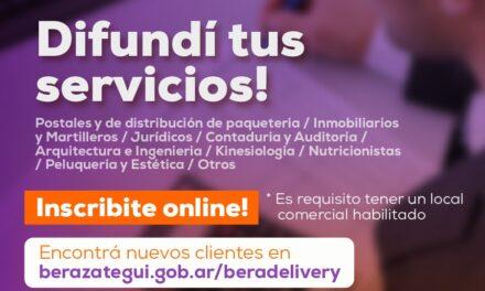 «BERA DELIVERY» INVITA A PROFESIONALES Y SERVICIOS A ADHERIRSE