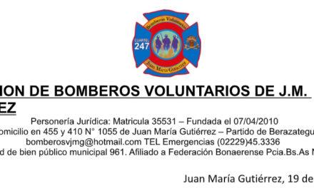 BOMBEROS DE GUTIERREZ CONVOCAN A ASAMBLEA